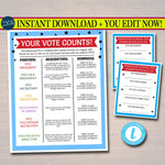 EDITABLE PTO PTA Voting Election Flyer and Ballot Sheets, Printable School Fundraiser, Why Volunteer Template, Newsletter, Instant Download