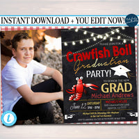 Graduation Crawfish Boil Invitation, Picnic Seafood Lobster Shrimp Boil, BBQ Backyard Party High School College Graduation Invite
