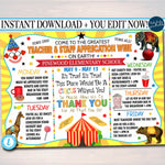 EDITABLE Circus Themed Teacher Appreciation Week Itinerary Poster Big Top Theme Appreciation Week Schedule Events INSTANT DOWNLOAD Printable