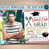 BBQ Graduation Invitation Chalkboard Printable  College Grad Invite, Guy, Man Senior Grad Party, Grill & Chill BBQ Invite