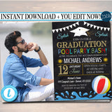 Pool Party Graduation Invitation Chalkboard Printable  College Grad Invite Senior High School Grad Party, Grill & Chill BBQ