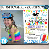 Pool Party Graduation Invitation Printable Kindergarten Preschool Pre K Graduate School Graduation Ceremony Invite