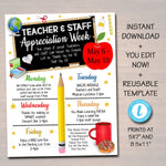 Editable Teacher Appreciation Staff Invitation Family Newsletter, Printable Appreciation Week of Events, Take Home Flyer, INSTANT DOWNLOAD