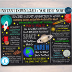 EDITABLE Space Theme Teacher Appreciation Week Itinerary Poster Digital Week Schedule Events, INSTANT DOWNLOAD pto pta Fundraiser Printables