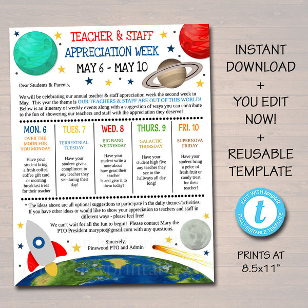 Editable Space Theme Teacher Appreciation Staff Invitation Newsletter, Printable Appreciation Week Events, Take Home Flyer, INSTANT DOWNLOAD