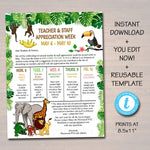 Editable Jungle Theme Teacher Appreciation Staff Invitation Newsletter, Printable Appreciation Week Events, Take Home Flyer INSTANT DOWNLOAD