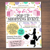Sip & See Pop Up Shop Event Flyer - Editable Template