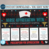 EDITABLE Nurses Appreciation Week Itinerary Poster, Heart Medical National Nurses Week Itinerary Schedule Events INSTANT DOWNLOAD Printable