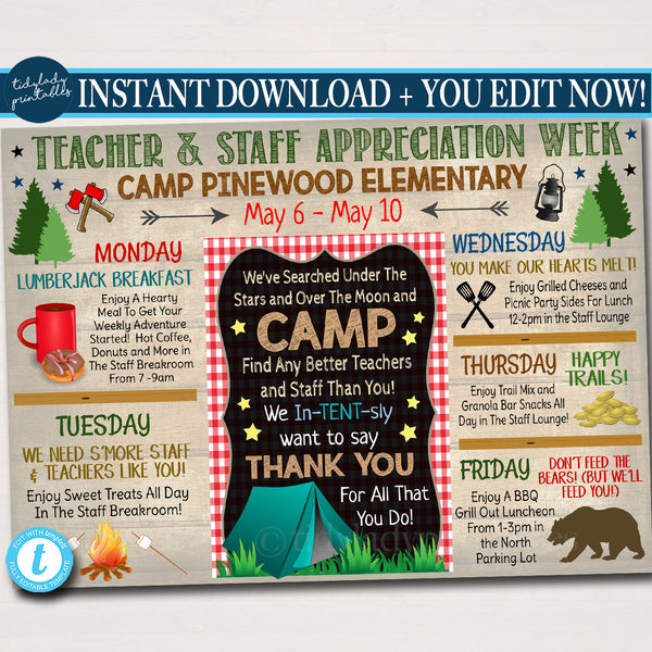 EDITABLE Camp Themed Teacher Appreciation Week Itinerary Poster, Outdoor Wilderness Appreciation Schedule Events, INSTANT DOWNLOAD Printable