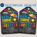 Printable Umbrella Gift Thank You Tags, Volunteer Labels, Printable, INSTANT + EDITABLE, Thank You Gift, PTA Pto Staff Teacher Appreciation