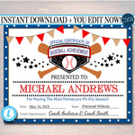 EDITABLE Baseball Award Certificates, INSTANT DOWNLOAD, Team Baseball Awards, Baseball Printable, Sportsmanship Awards, Sports Certificates,