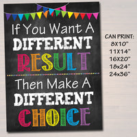 Classroom Decor, Choices Results Consequences Inspirational  Poster, School Counselor, Social Work Office High School Motivational Printable