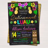 Editable Luau Retirement Invitation Chalkboard Printable Teacher Nurse Retirement Tropical Invite Surprise Retirement Party INSTANT DOWNLOAD