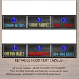 Editable EMT Paramedic Food Tent Labels, Printable Party Decor, Graduation Chalkboard Printable, Retirement Party Invite, INSTANT DOWNLOAD