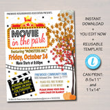 EDITABLE Movie Night Flyer, Printable PTA PTO Flyer, School Church Benefit Fundraiser Outdoor Movies in the Park Poster Printable Invitation