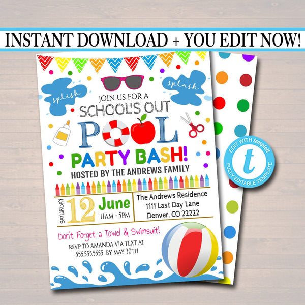 EDITABLE End of School Pool Party Invitation, Printable Digital Invite, Back to School, Backyard bbq Party, Splish Splash, Pool Party Bash