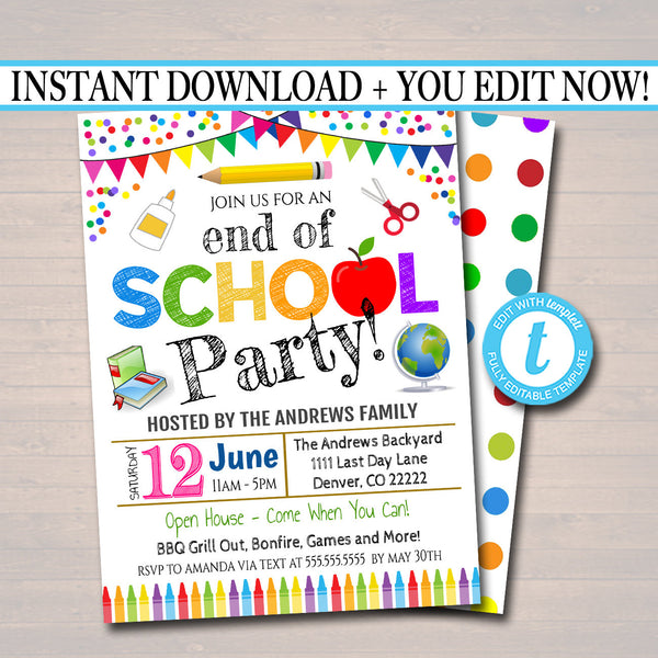 photograph regarding Party Invitations Printable identify EDITABLE Close of College Occasion Invitation, Printable Electronic Invite, Again in direction of University Occasion, Garden bbq Social gathering, Instructor Clroom Get together Social gathering