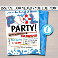 EDITABLE Summer Pool Baseball Party Invitation, Printable Digital Invite Back to School, Team BBQ Party, End of School, Boys Pool Birthday