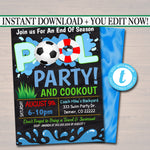 EDITABLE Summer Pool Soccer Party Invitation Printable Digital Invite Back to School, Soccer Team BBQ End of School Boys Pool Birthday Party