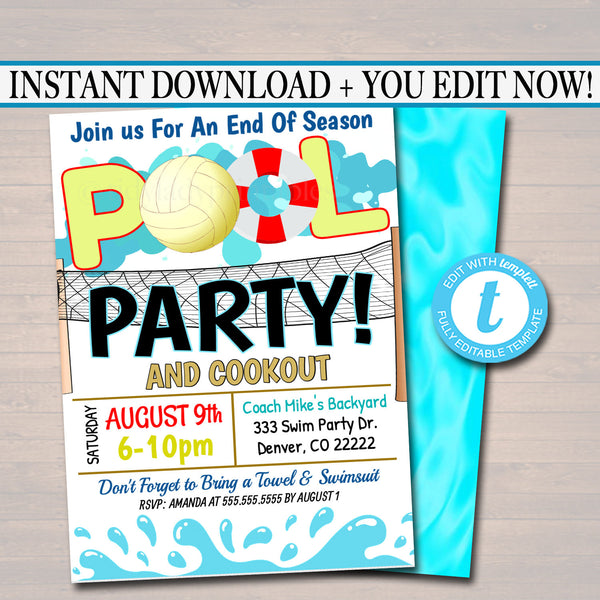 EDITABLE Summer Pool Volleyball Party Invitation Printable Digital Invite Back To School Team BBQ End Of Girl Birthday