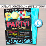 EDITABLE Summer Pool Volleyball Party Invitation, Printable Digital Invite Back to School, Team BBQ, End of School, Girl Pool Birthday Party