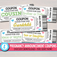 EDITABLE Pregnancy Announcement Coupons, INSTANT DOWNLOAD, Printable Coupons, Good For One Grandchild, Niece, Grandparents Aunt, Daddy to Be