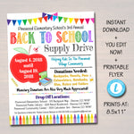 School Supply Drive Event Flyer - Editable Template