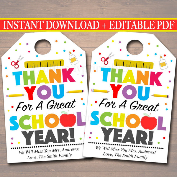 EDITABLE Thank You Tags, Teacher Appreciation Thank You Note, INSTANT DOWNLOAD Printable Principal Staff, End Of School Year Teacher Gifts