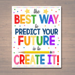 Classroom Printable Poster, Counselor Office Decor, Social Worker, High School Classroom Poster, Create Your Future, Motivational Teen Art