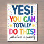 Counseling Office Poster, Teacher Printables, Therapist Office Art, Social Worker Sign, Classroom Poster, Yes You Can! Believe in Yourself!