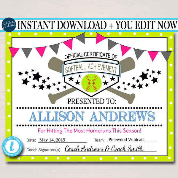 EDITABLE Softball Certificates INSTANT DOWNLOAD Softball Award, Printable Girls Softball Team Participation Awards, Sports Acheivement