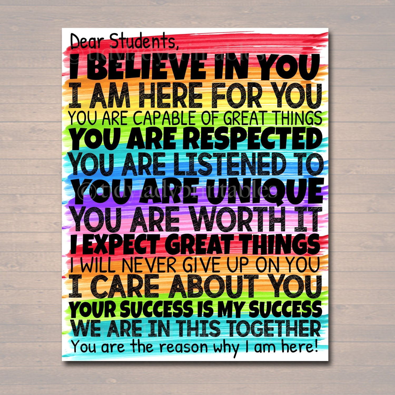 Dear Students Classroom Teacher Poster Sign, School Counselor Art ...
