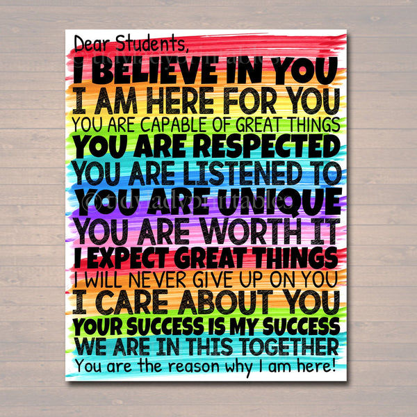 Dear Students Classroom Teacher Poster Sign, School Counselor Digital Art, School Social Worker, Principal Office Decor, INSTANT DOWNLOAD