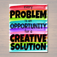 Classroom Decor, High School Social Worker Counselor Office Poster, Every Problem Opportunity For Creative Solution Motivational, Principal