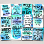 SET OF 12 Inspirational Watercolor Printable Posters, School Counselor Teacher Social Worker Classroom Blue Office Decor Kindness You Matter