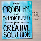 Inspirational Watercolor Printable Poster, School Counselor Teacher Social Worker Classroom Blue Office Decor, Problem Has Creative Solution