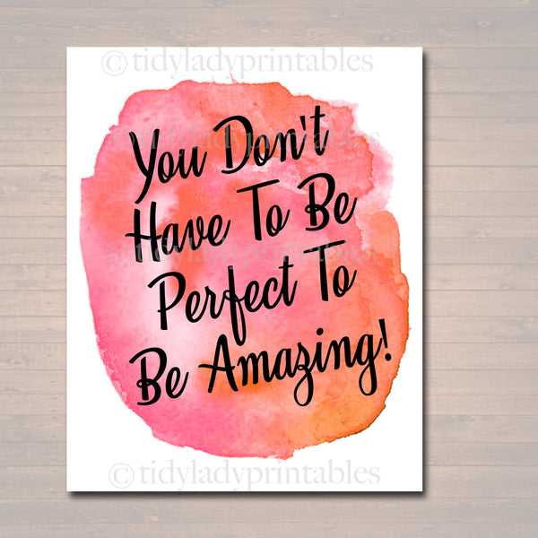 Inspirational Watercolor Printable Poster, School Counselor Teacher Social Worker Classroom Pink Office Decor, Don't Have to Be Perfect Art