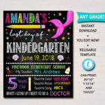 EDITABLE Mermaid Last Day of School Photo Prop Back to School Chalkboard Poster Personalized School Chalkboard Sign Any Grade Sign, 1st Day