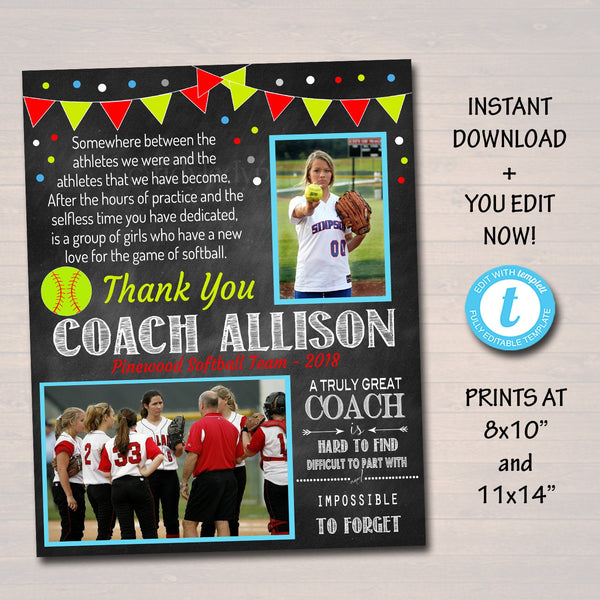 EDITABLE Softball Coach Gift, Coach Award, Softball Team Gift, End of Season Softball Party, Custom Best Coach Gift Softball Photo Printable