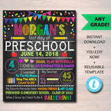 EDITABLE Last Day of School Photo Prop, Back to School Chalkboard Poster, Personalized School Chalkboard Sign, Any Grade Sign School Photo