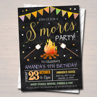 S'mores Birthday Invitation, Fall Harvest Bonfire Invite, Backyard Party Invite, EDITABLE Printable Invitation Kid's Halloween S'mores Party