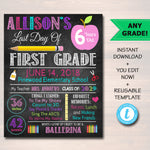 EDITABLE Last Day of School Photo Prop, Back to School Chalkboard Poster, Personalized School Chalkboard Sign, Any Grade Sign School Phto