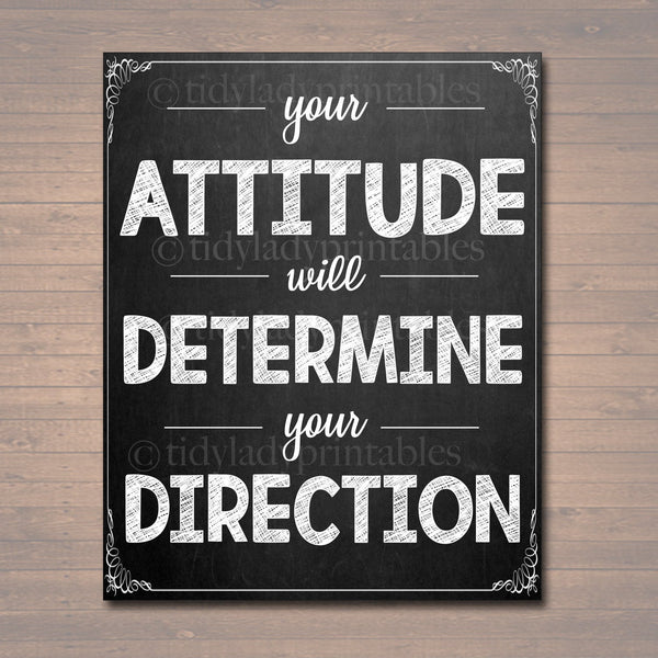 Inspirational Chalkboard Printable Poster, School Counselor Teacher Social Worker Classroom, Office Decor, Attitude Determines Direction