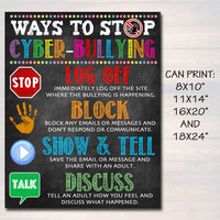 PRINTABLE Anti Cyber-Bullying Poster Computer Lab School Sign Classroom Decor IT Computers Teacher Technology Class, School Counselor Poster