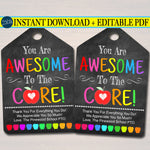 EDITABLE You Are Awesome to The Core, Teacher Gift Tags Back To School, Valentine's Day, Teacher Appreciation Gift Idea, INSTANT DOWNLOAD