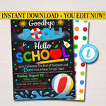 EDITABLE End of Summer Pool Party Invitation, Printable Digital Invite, Goodbye Pooll Hello School Party, Backyard bbq Invite, Splish Splash