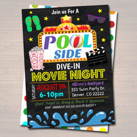 EDITABLE Summer Pool Dive In Movie Party Invitation, Printable Digital Invite, Back to School, Backyard Party, End of School, Pool Birthday