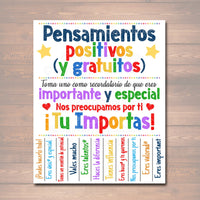 Free Positive Thoughts Spanish Tearoff Flyer School Counselor Kindness Classroom Decor, School Counselor Gift Office Social Worker Therapist