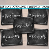 PRINTABLE Hashtag High School First Day School Class Year Photo Props High School Freshman, Sophomore, Junior Senior Chalkboard Poster Signs