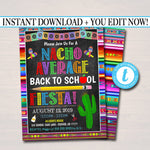 EDITABLE Back To School Fiesta Party Invitation, Printable Digital Invite, Back to School, Backyard Party, End of Summer Celebration Invite